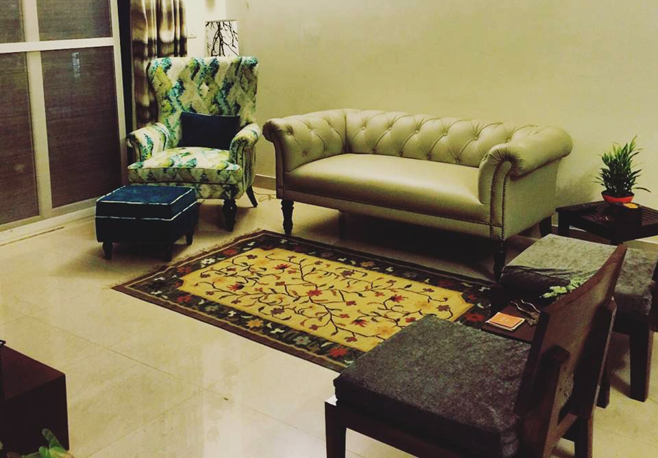 chessterfield sofa and wing chair